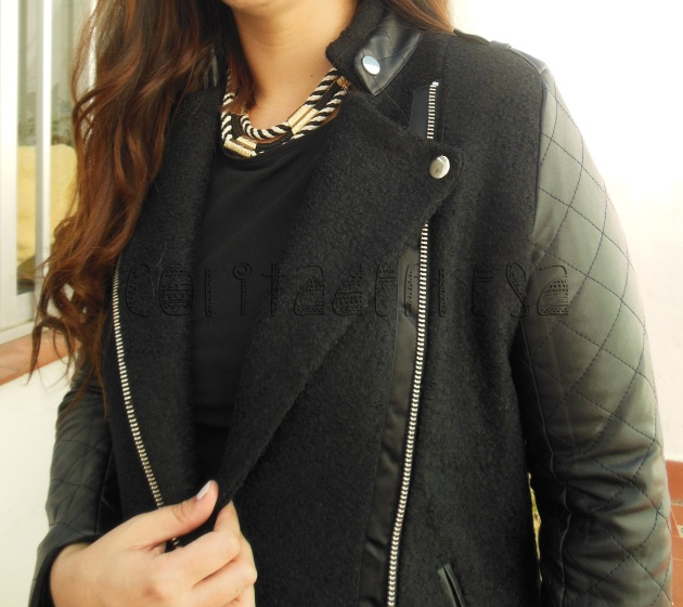 Zippered Black Panel Woolen Coat